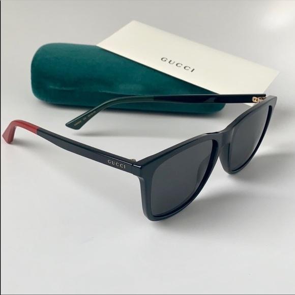 5d0cf2e138257 Gucci Men Sunglasses Square GG0404S-002 Black Grey